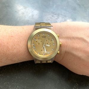 Swatch gold waterproof watch